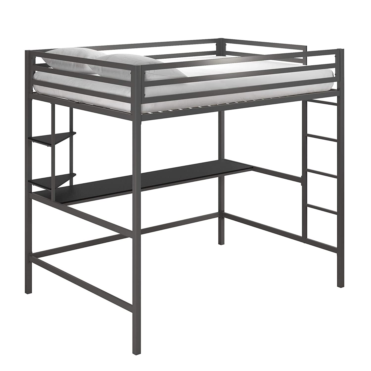 Novogratz Maxwell Metal Full Loft Desk Shelves, Gray Black Bunk Beds,
