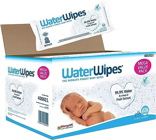 WaterWipes Toallitas para Pieles Sensible de Bebé, 99.9% agua ...