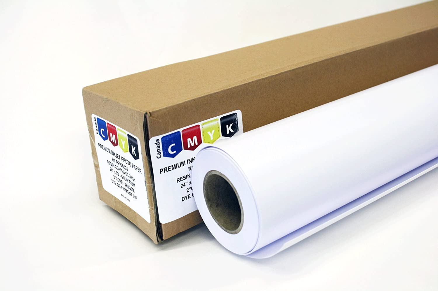 Wide Format Super White Cast Coated Glossy Inkjet Paper 24 inch x 98 ft. Roll 2 Core 260 GSM, Tax included CMYK(Canada)