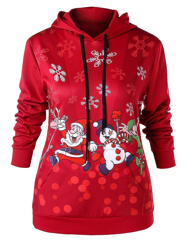 Weihnachten Pullover Damen, Teenager Mä dchen Weihnachtspulli Weihnachtsmann Christmas Sweatshirt Schneemann Xmas Pulli Weihnachtspullover Kapuzenpulli Hoodie Kapuzenpullover Oberteile