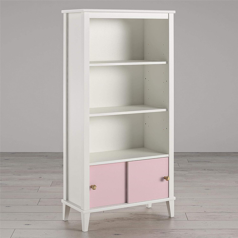 Little Seeds Monarch Hill Poppy White, Pink Doors Kids' Bookcase,