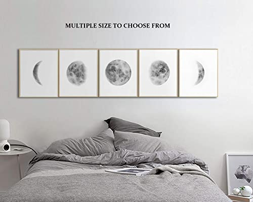 Amazon Com Wall Art For Bedroom Moon Phases Wall Art Set Of 5 Prints Above Bed Art Moon Poster Prints Wall Art For Living Room Black And White Pictures Unframed Prints Multiple Size