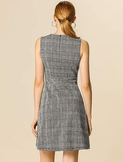 Allegra K damska sukienka bez rękawÓw linia A kran krawat minisukienka: Odzież