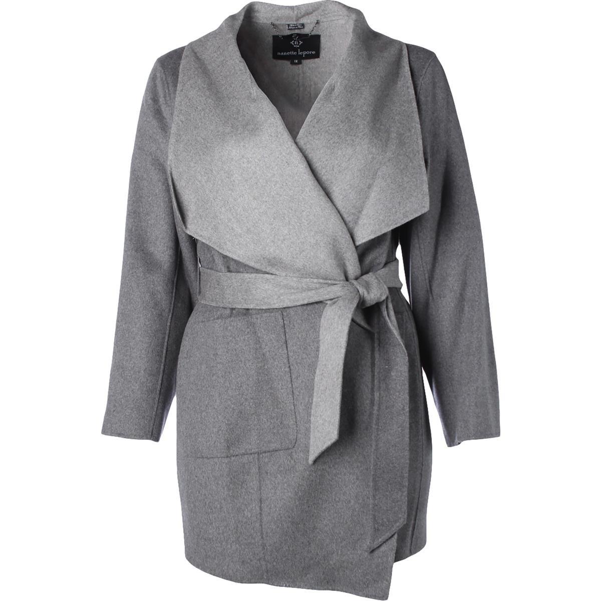 Nanette Lepore Womens Plus Wool Oversized Collar Wrap Coat Gray 3X