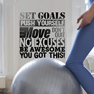 """Wall Art Decal: Don't Quit, No Excuses, Set Goals - Large Vinyl Motivational or Inspirational Quote Perfect for Home/Office Gym Decoration or Fitness & Sport Wall Decor 