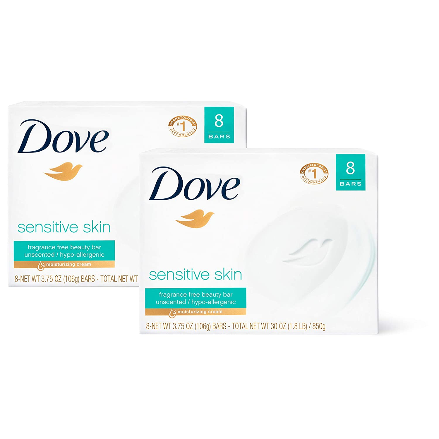Dove Beauty Bar Gently Cleanses and Nourishes Sensitive Skin Effectively Washes Away Bacteria While Nourishing Your Skin, 3.75 oz, 16 Bars : Bath Soaps : Beauty