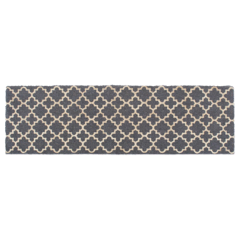 DII Double Gray Lattice Doormat, 18x60'',