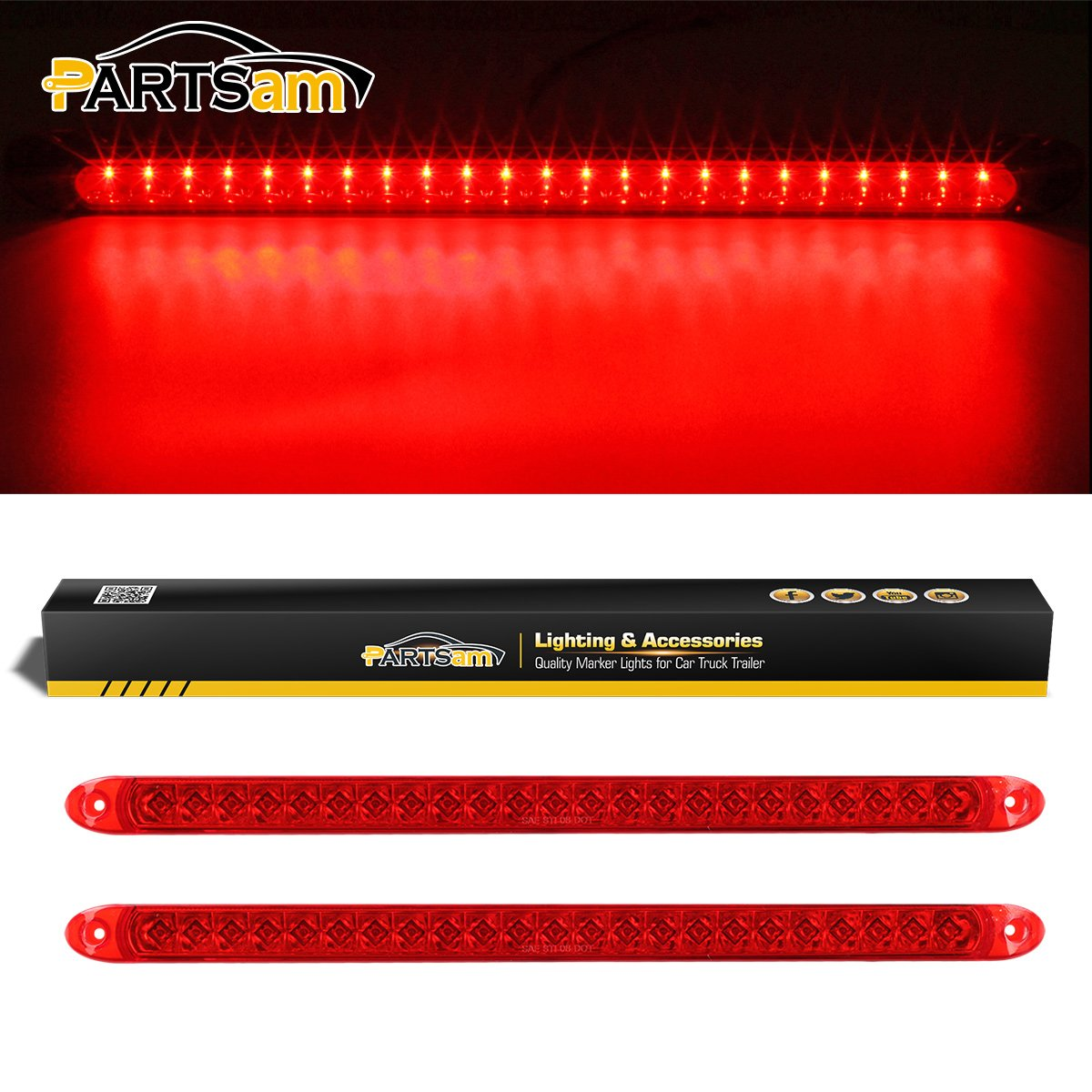 Partsam 2PC Red 17'' 23 LED Light Bar Stop Turn Tail Third 3rd Brake Light Car Truck Trailer RV Bus Boat Identification ID Bar Waterproof by Partsam