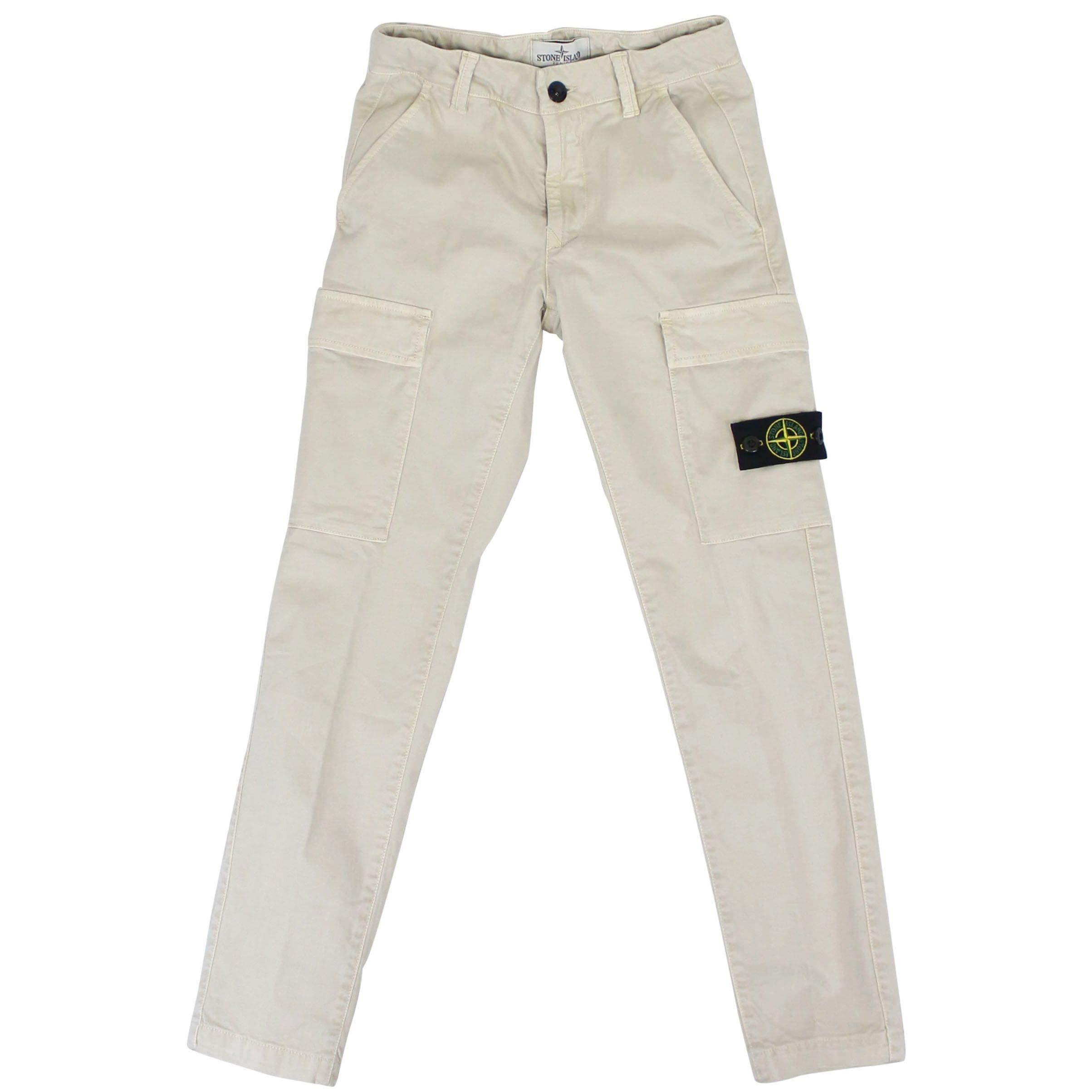 Stone Island Boys 701630312V0197 Beige Cotton Pants