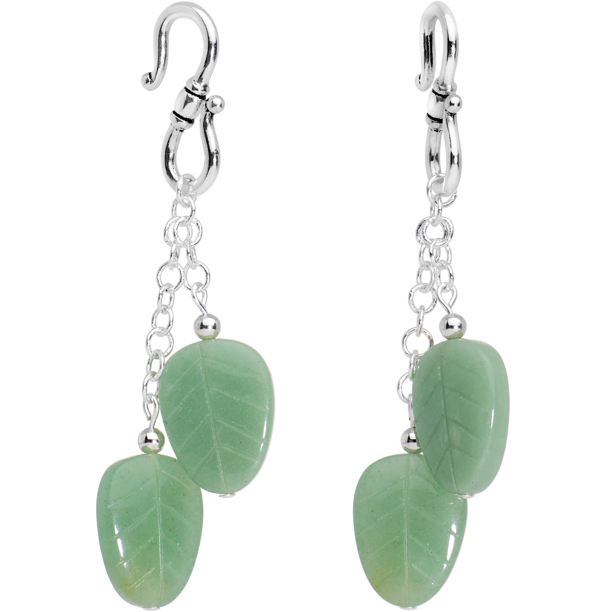 Body Candy Handcrafted Green Leaf Natural Aventurine Stone Silver Plated Hook Ear Weights