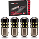 BRISHINE 4-Pack 1000 Lumens Super Bright 1157 2057 2357 7528 BAY15D LED Bulbs 6000K Xenon White 24-SMD LED Chipsets with Projector for Backup Reverse Lights, Parking Lights, Daytime Running Lights