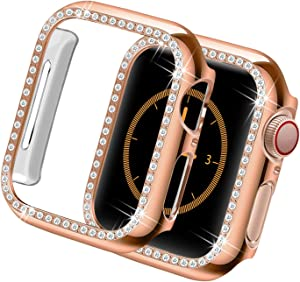 Yolovie Compatible for Apple Watch Case 38mm, iWatch Cover with Bling Crystal Diamonds Shiny Rhinestone Bumper, PC Protective Frame for Apple Watch Series 3/2/1 Women Girl (Rose Gold-Diamond, 38mm)