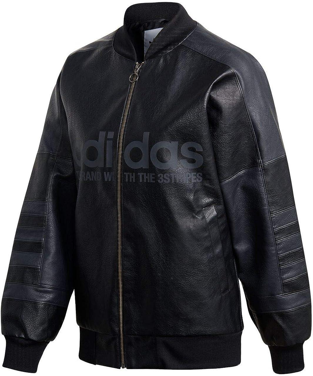 adidas Veste Femme Originals en Cuir Noir DH4182: