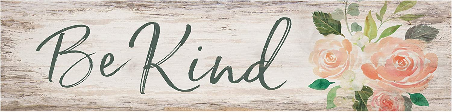 P. Graham Dunn Be Kind Floral Whitewash 6 x 1.5 Mini Pine Wood Tabletop Sign Plaque