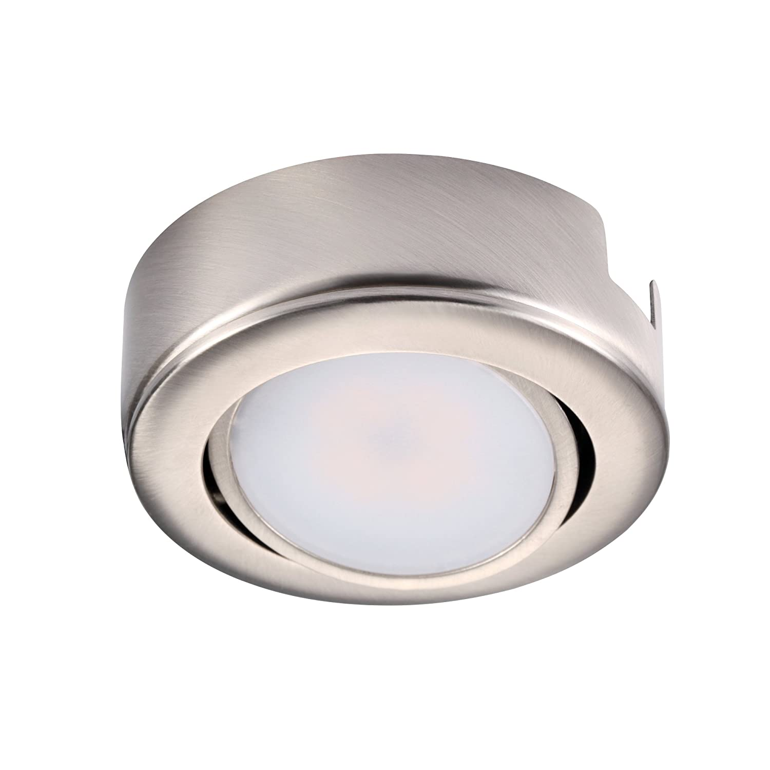 GETINLIGHT Dimmable and Swivel, LED Puck Light with ETL List, Recessed or Surface Mount Design, Bright White 4000K, Brushed Nickel Finished, Power Cord Not Included, IN-0107-1-SN-40