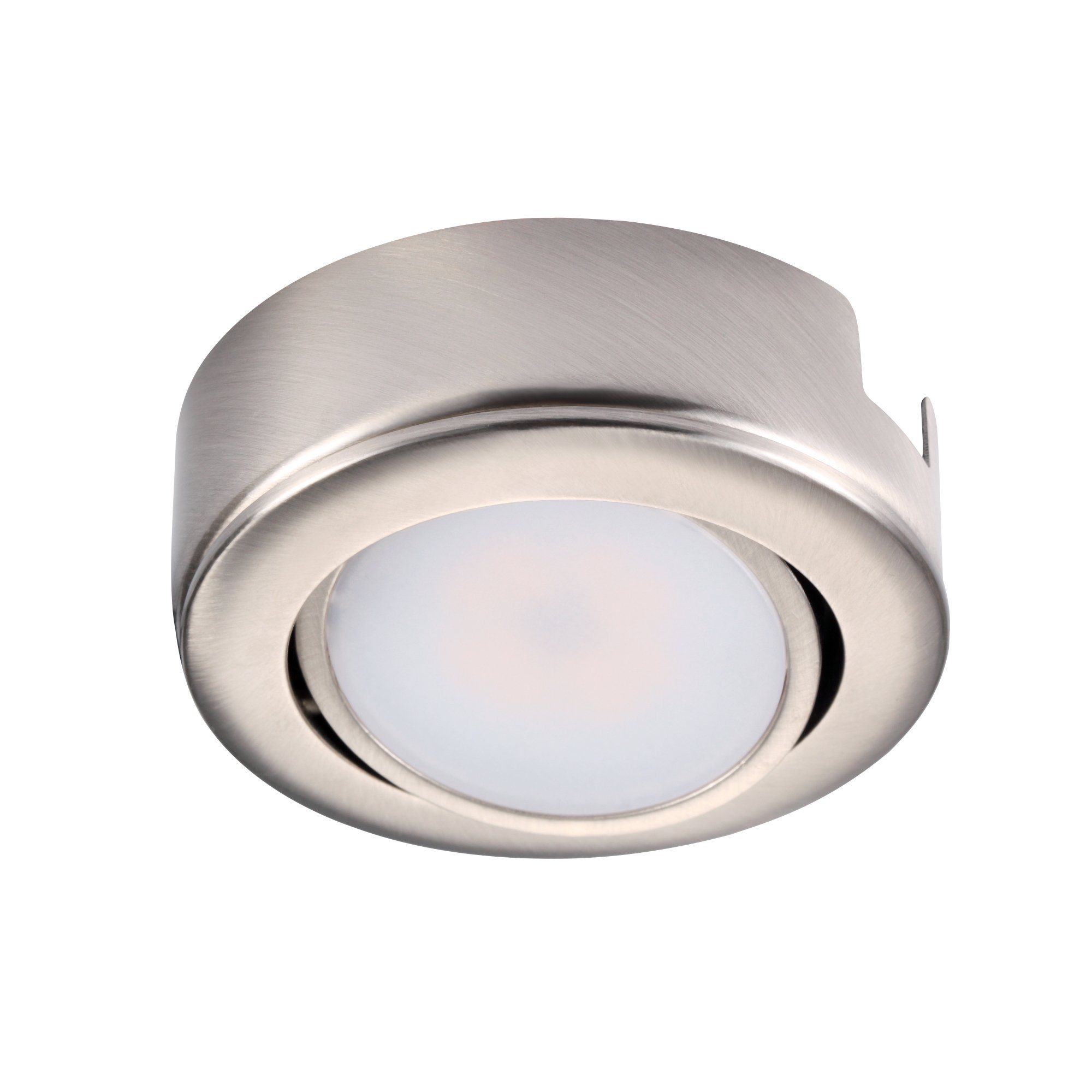 GetInLight Dimmable and Swivel, LED Puck Light Kit with ETL List, Recessed or Surface Mount Design, Bright White 4000K, Brush Nickel Finished, Power Cord Included, IN-0107-1S-SN-40