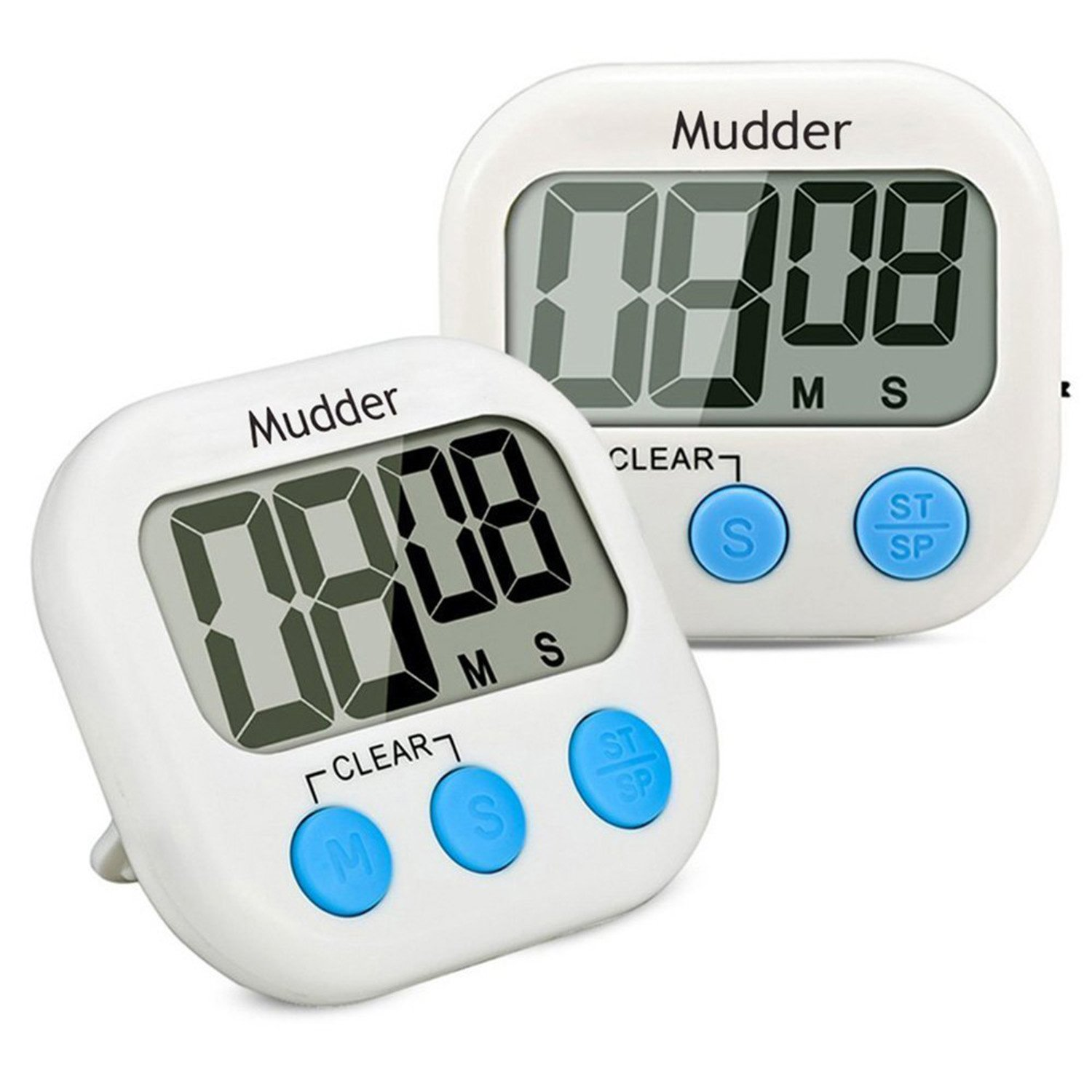 2 Pack Magnetic Digital Kitchen Cooking Timer with Loud Alarm and Large LCD Display (Blue) Mudder MUDDER_TIMER03