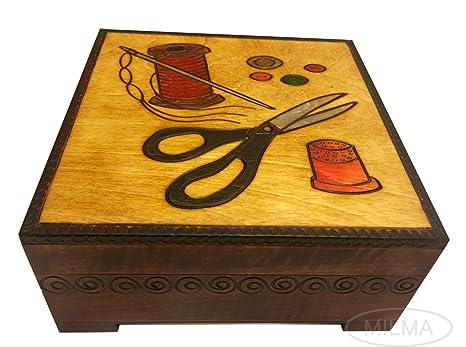 Amazon.com: Caja de costura hecha a mano polaco Linden ...
