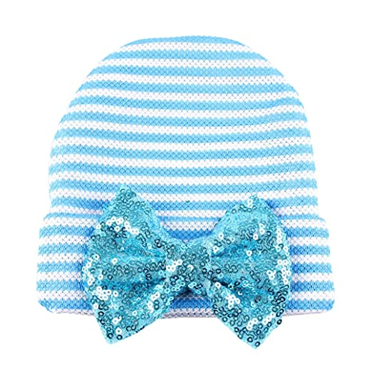 378cefe0fc1 Multifit Newborn Infant Baby Girls Knitted Hat Lovely Stripe Cap with  Sequin Bowknot Decor Photography Headwear