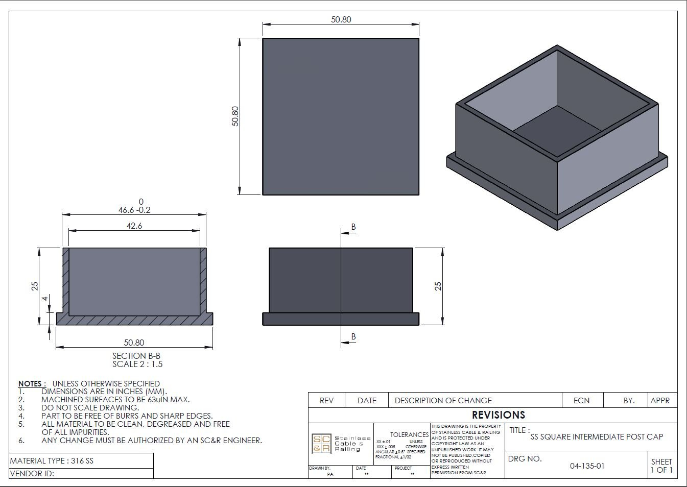 T 316 Stainless Steel End Square Post Cap Cover For Top And Bottom Engineer Scale Diagram Of Our Terminal Intermediate On Cable Rail Deck Posts