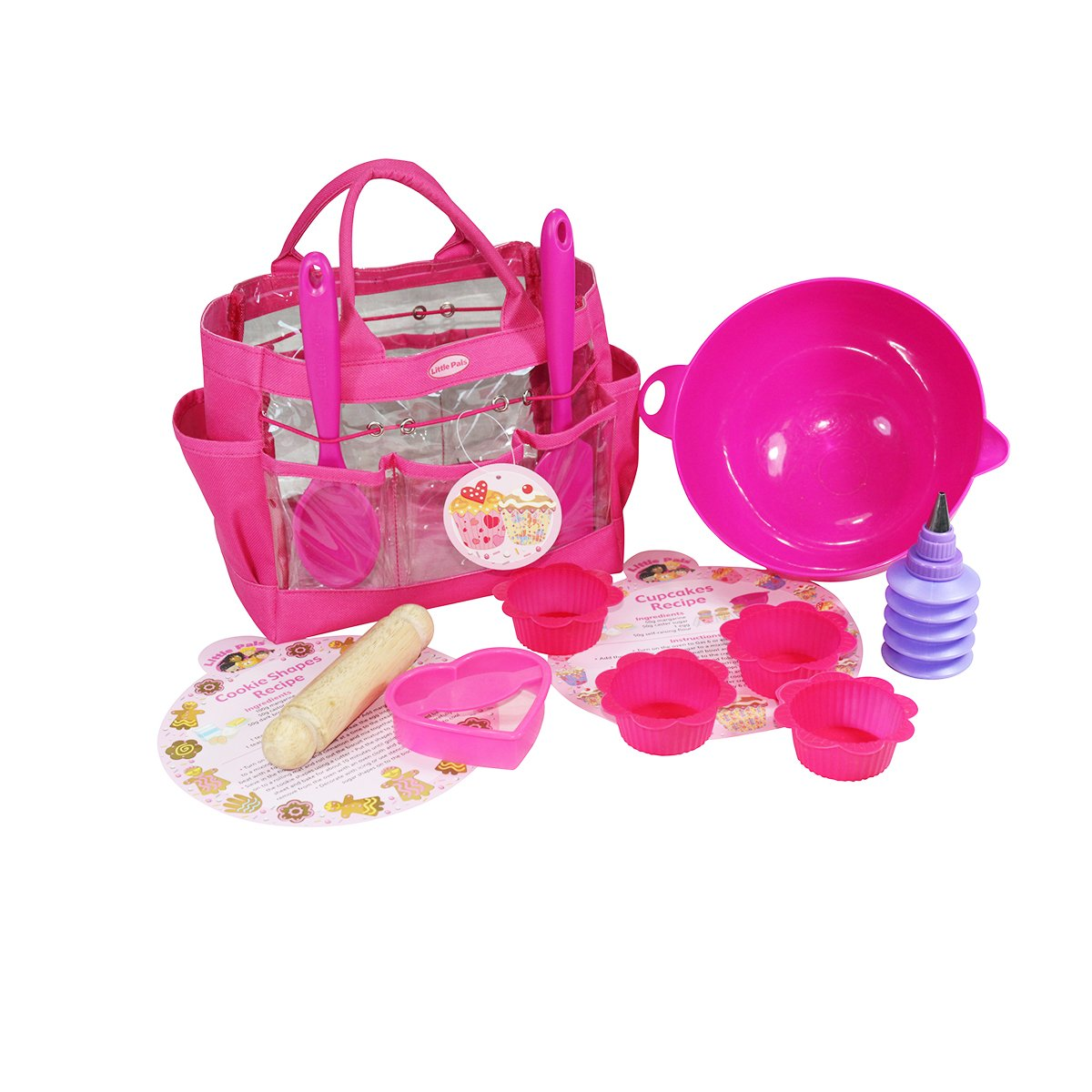 Little Pals Children's Cupcake and Cookie Baking Set in Carry Bag, Pink