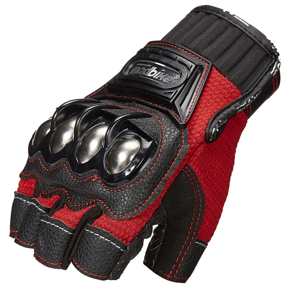 ILM Alloy Steel Fingerless Bicycle Motorcycle Motorbike Powersports Racing Gloves (XL, Half Finger-RED)