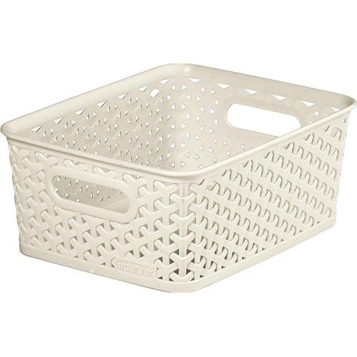 Curver My Style Small Rectangular Storage Basket, Vintage White, 4 Litre