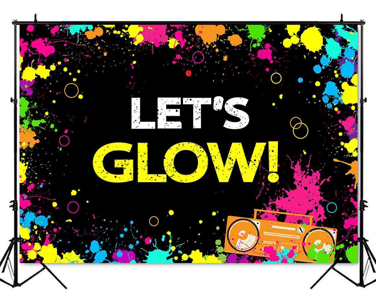 Mehofoto Glow Neon Party Backdrop Let's Glow Splatter Photography Background 7x5ft Vinyl Glowing Party Backdrops Banner Decoration Neon Party Supplies