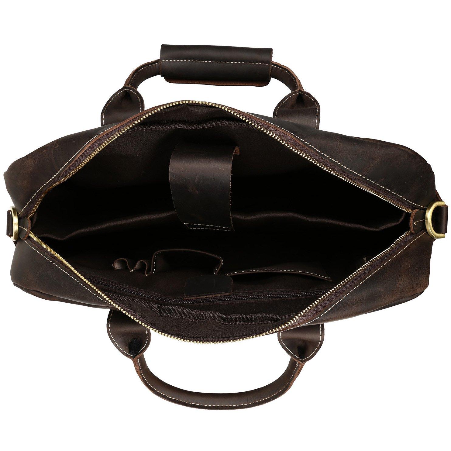 BAIGIO Men Retro Leather Briefcase Laptop Computer Office Business Shoulder Tote Messenger Bag (Dark Brown) by BAIGIO (Image #4)