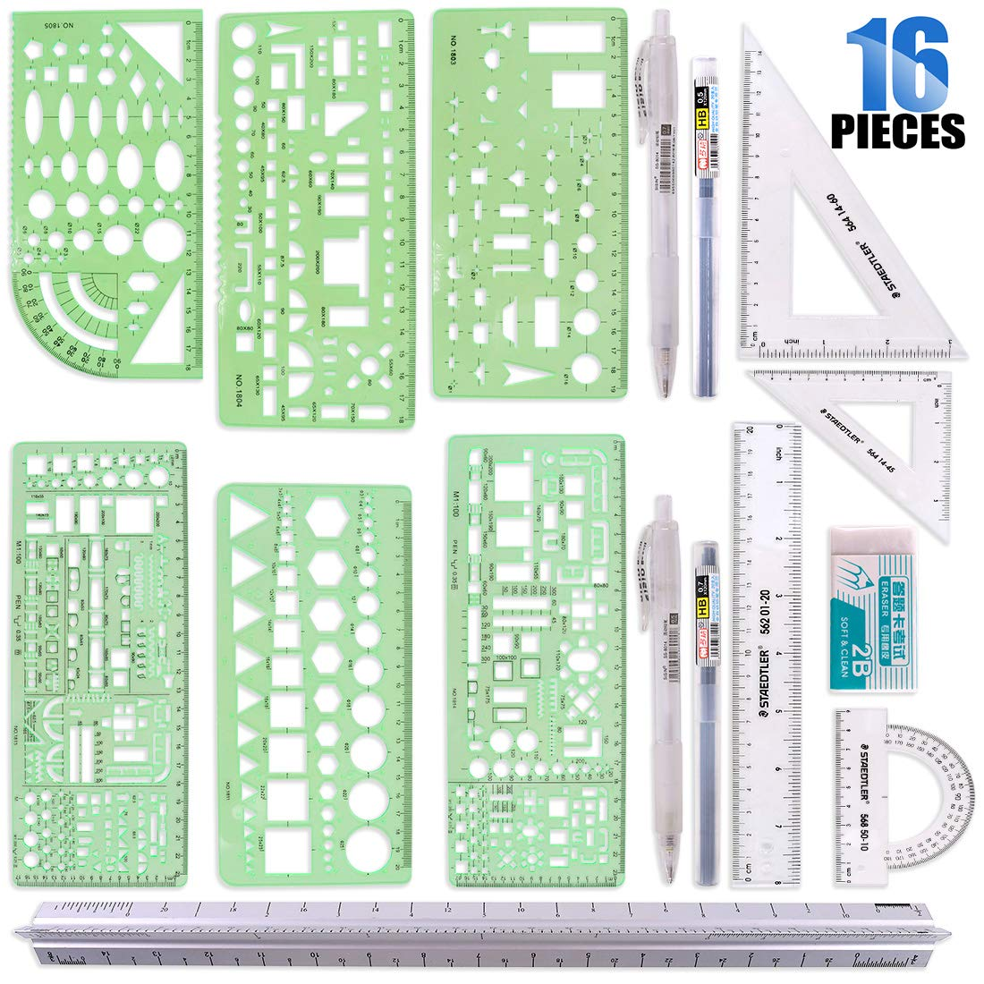 Glarks 16 Pieces Measuring Templates Building Formwork Stencils Geometric Drawing Rulers and Triangular Architect Scale Ruler with Pencil, Pencil Lead Refills, Eraser for Office and School by Glarks