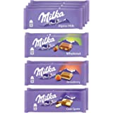 Milka European Chocolate Bars Variety Pack, Alpine Milk Chocolate, Cow Spots, Strawberry & Wholenut Hazelnut, Easter Chocolat