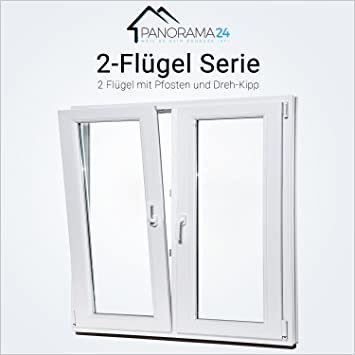 Fenster Kunststofffenster Stulpfenster 70 mm 3-Fach Verglasung 2-Flügel NEU TOP