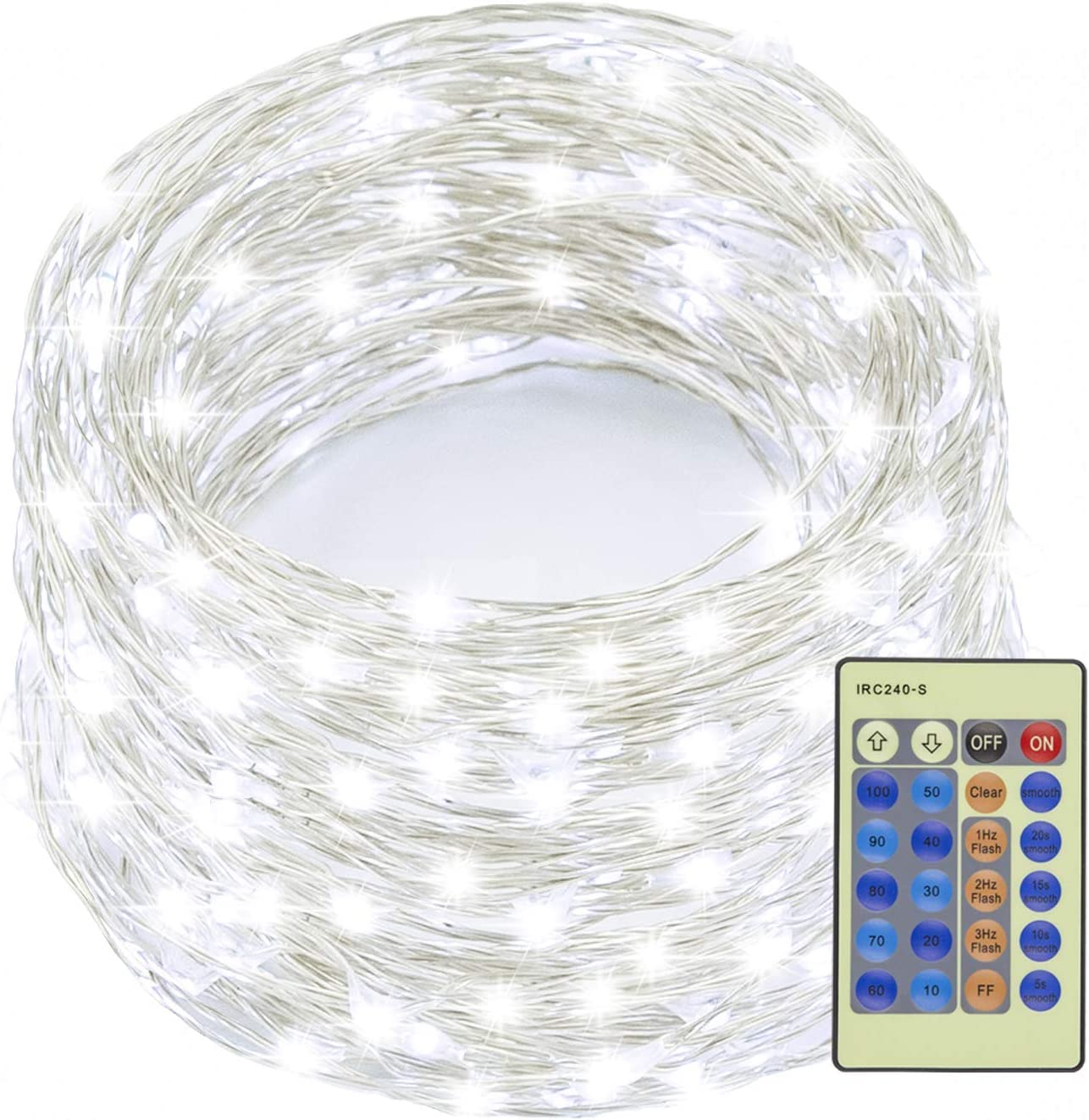 Decute 99 Feet 300 LEDs Silver Wire Fairy Lights Dimmable with Remote Control, Christmas String Lights with UL Listed for Party Wedding Bedroom Christmas Tree, Cool White
