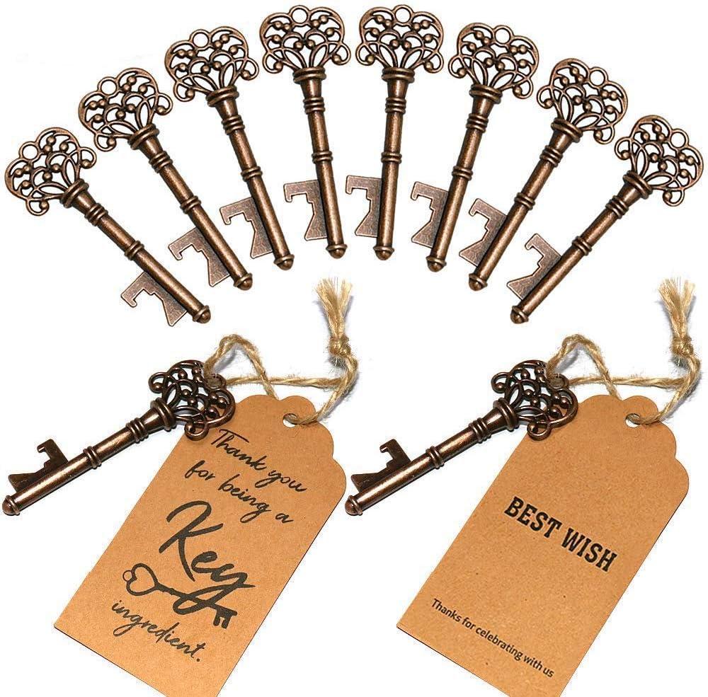 SHUNING 50pcs Bouteille R/étro ouvre-porte cl/é Forme Bi/ère Ouvreur Mariage D/écoration Souvenirs Cadeaux pour Accueil Hotel Bar Party Couleur Cuivre 8CM