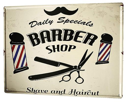 Escudo de chapa XXL profesión nostalgia peluquero