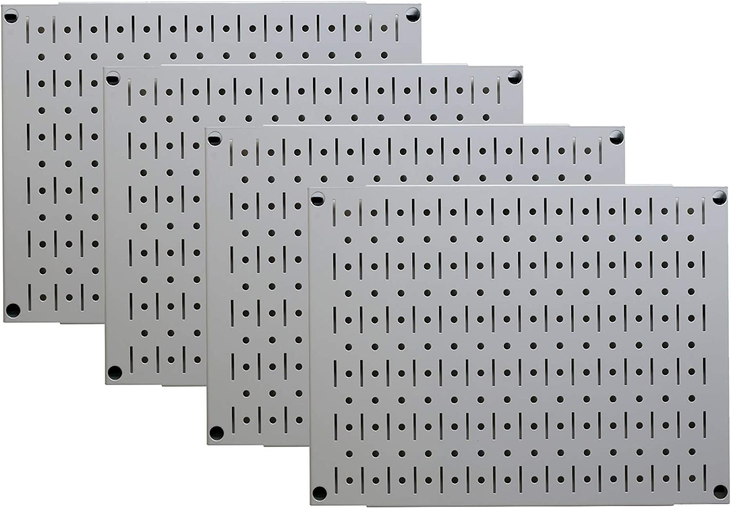 Pegboard Wall Organizer Tiles - Wall Control Modular Grey Metal Pegboard Tiling Set - (4) 12-in Tall x 16-in Wide Gray Peg Board Panel Wall Storage Tiles - Easy to Install (Grey)