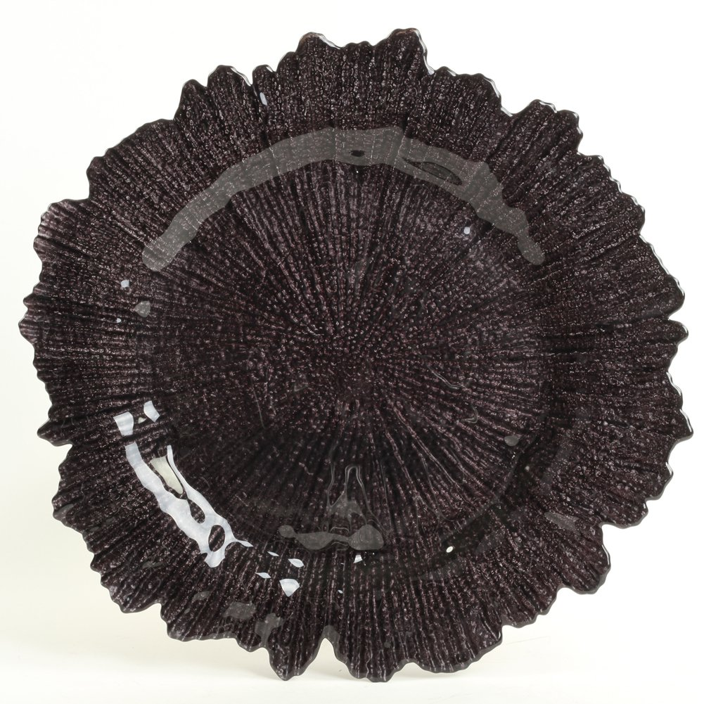 Koyal Wholesale Bulk Flora Glass Charger Plates Starburst Charger Plates, Reef Charger Plates, Black, Set of 4