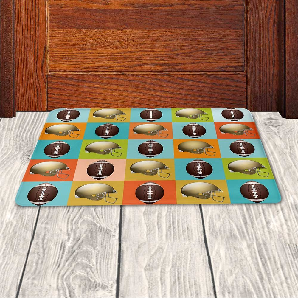 Memory Foam Bath Mat,Football,Colorful Squares Mosaic Pattern with Protective Helmets and Balls College Activity DecorativePlush Wanderlust Bathroom Decor Mat Rug Carpet with Anti-Slip Backing,Multic by iPrint (Image #3)