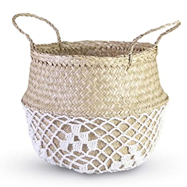 HandyMake Seagrass Belly Basket – 10 Basket Planter Styles in Small, Medium or Large for Home Décor, Laundry, Storage, Toy Organizer, Picnic, Nursery Hamper Use (Seagrass with Net White, Medium)