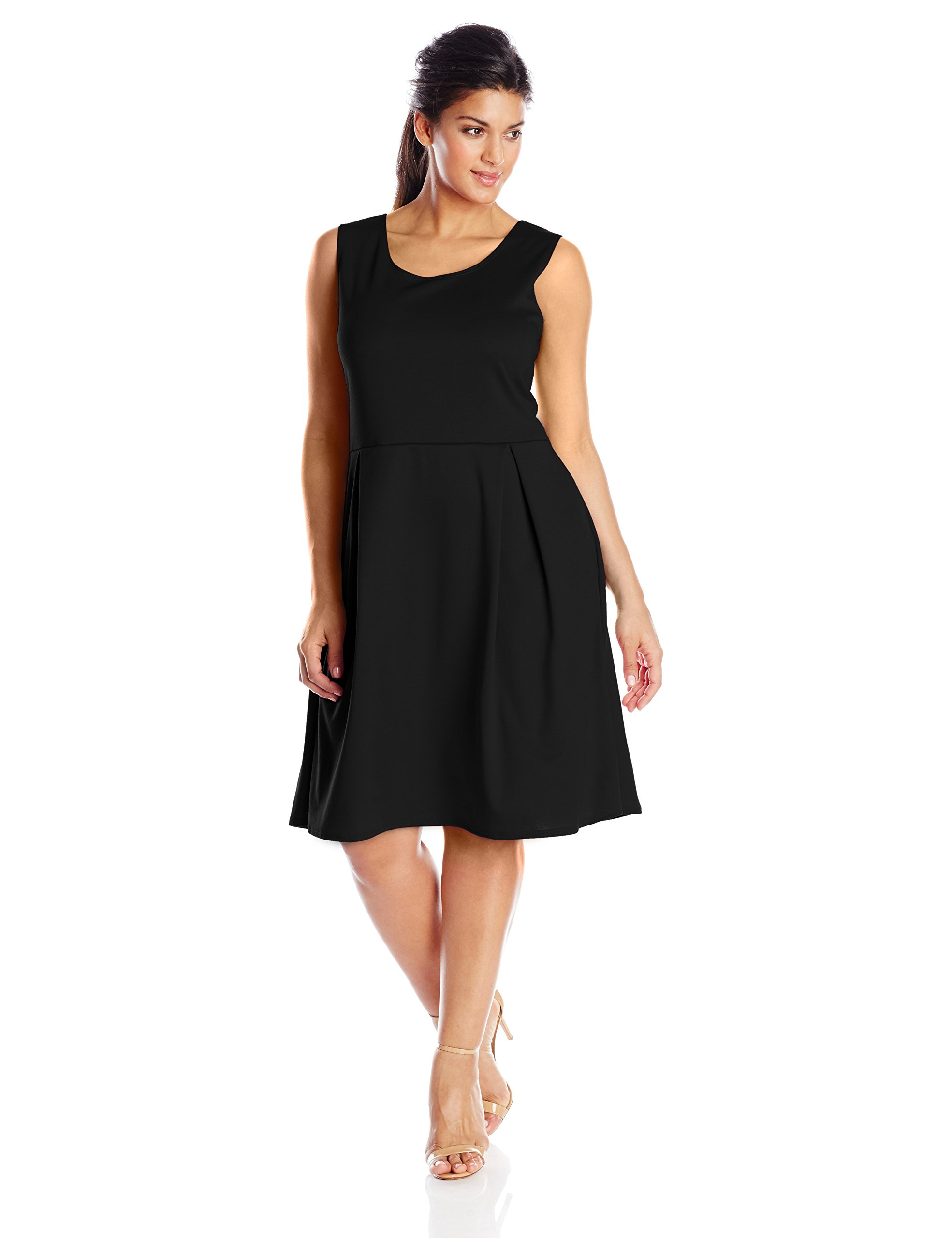Star Vixen Women's Plus-Size Sleeveless Box-Pleat Skater Dress, Black, 1X