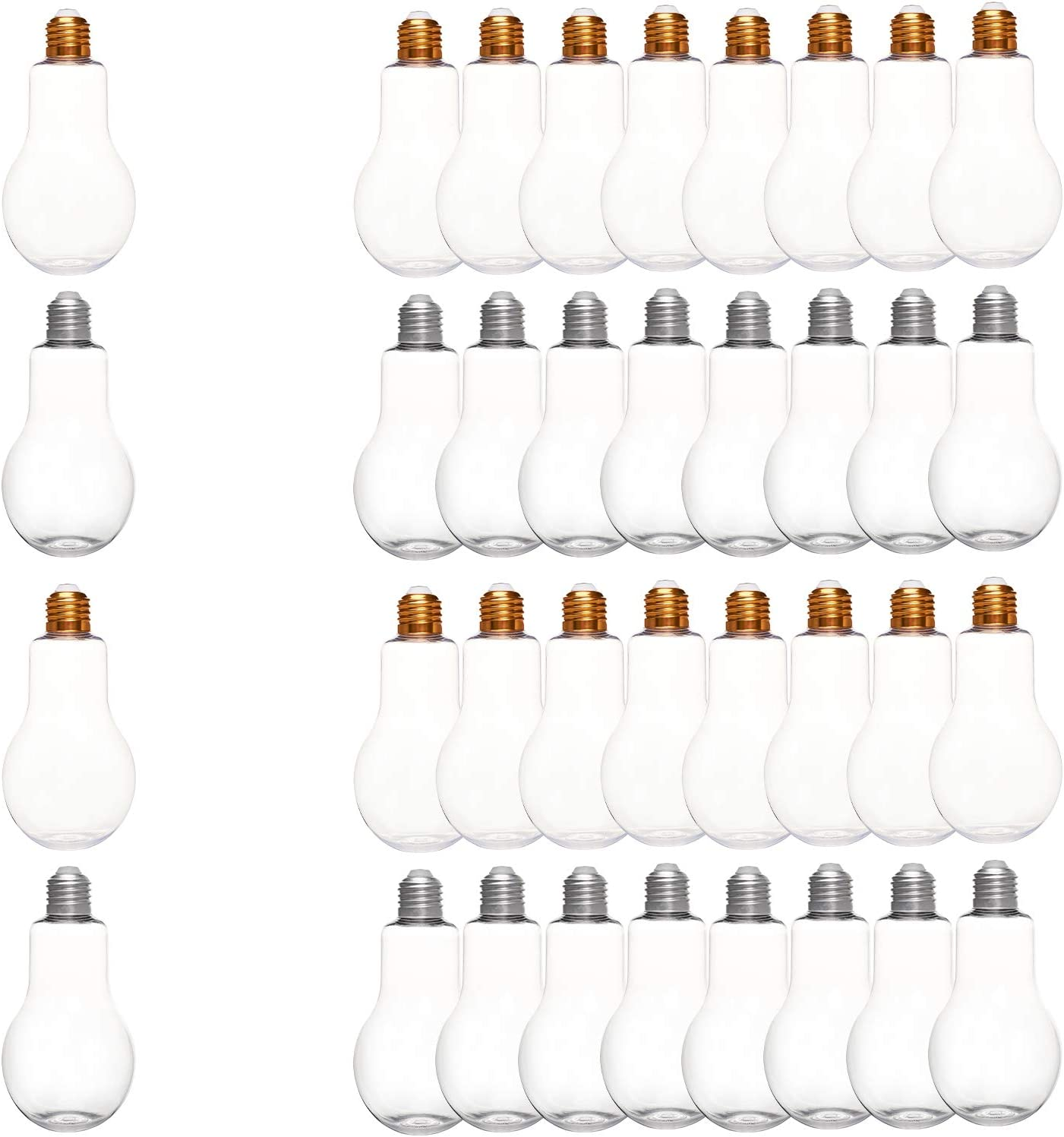 NBEADS 12 paquetes de frascos de plástico, frascos con tapas, botella de plástico con forma de bombilla, para decoración de fiestas y almacenamiento de adornos, 300 ml