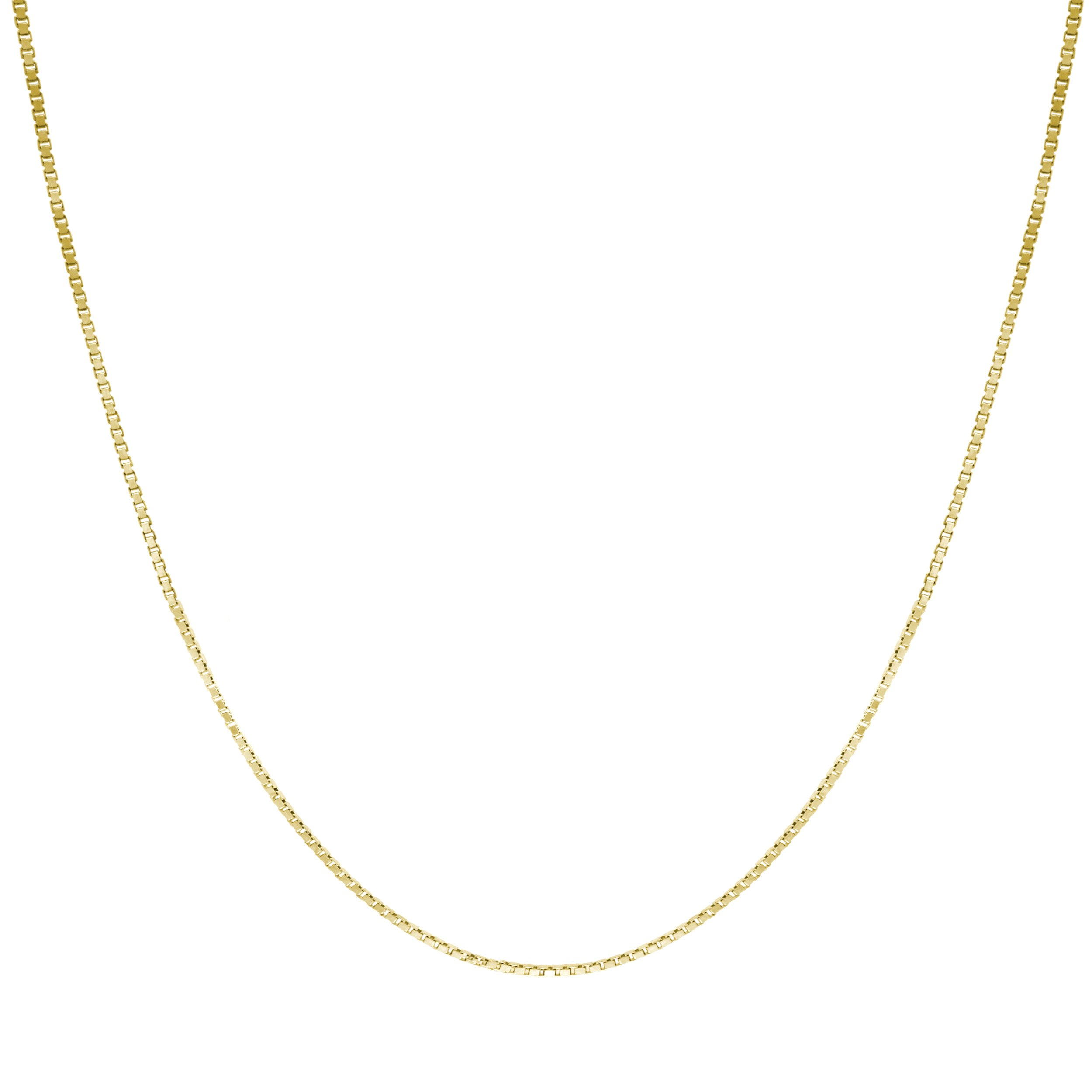Honolulu Jewelry Company 14K Solid Yellow Gold 0.7mm Box Chain Necklace (20 Inches)