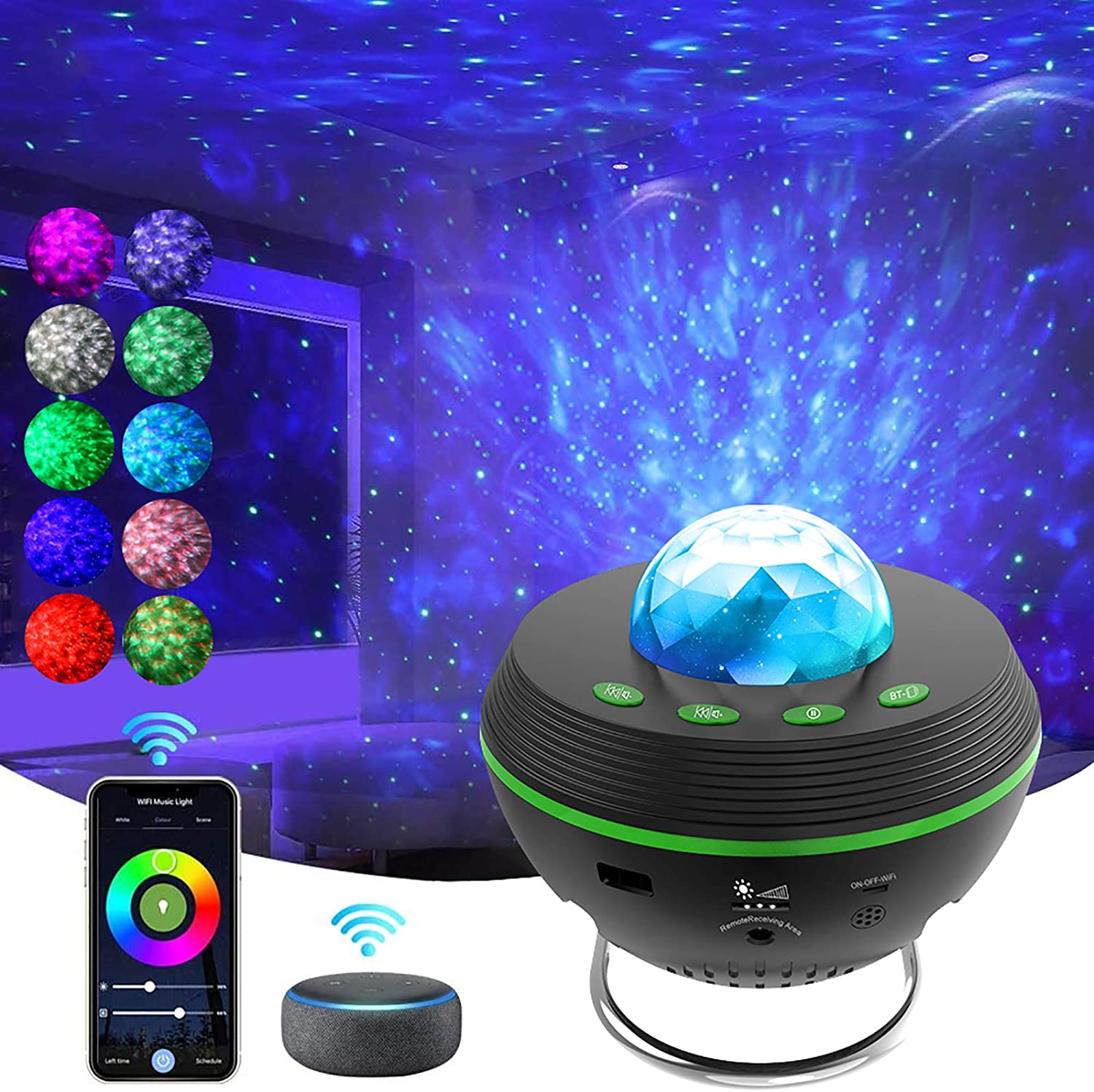KOSPET Star Projector, Ocean Weave Night Light Projector with Bluetooth Speaker, Smart Voice Control Compatible with Alexa & Google Home, Perfect for Bedroom Home Ceiling Theatre Baby Kids Adults