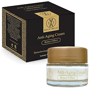 Melie Melie Anti Ageing Cream - Botox Effect - 50ml - Facial Moisturiser -  Firming Cream for Face & Neck with Biotechnological Active Ingredients