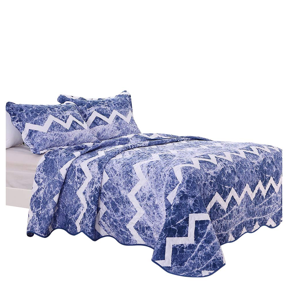 Quilt Set King Boho Chic Summer Coastal Blue and White Texture Printed Reversible Bedding Set with 1 Comforter and 2 Pillow Shams