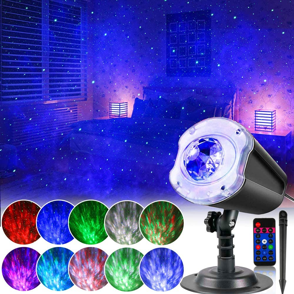 Star Night Light Projector, 2 in 1 Galaxy Projector Lights Ocean Wave Holiday Lights Projector with Remote Control,Outdoor Indoor Waterproof 10 Colors Decorative Lighting for Xmas Home Game Party