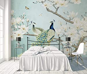Murwall Peacock Wallpaper Chinese Peacock Wall Mural Magnolia Floral Wall Art Flower Wall Decor Chinese Home Decor Asiatic Wall Painting Cafe Decor