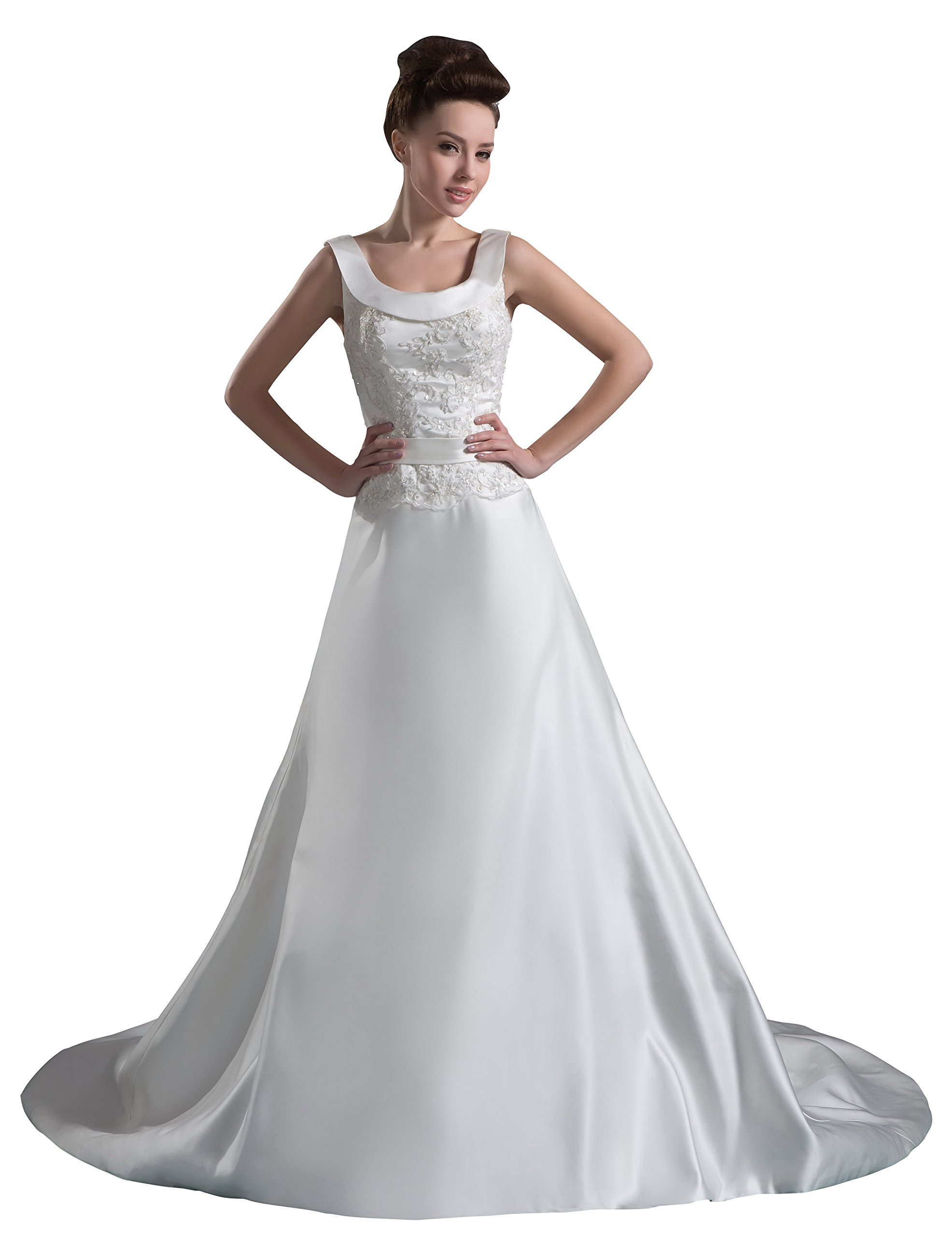Vogue007 Womens Straps Silk Pongee Wedding Dress with Embroidery, White, Customized
