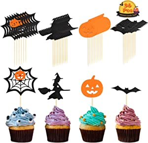 Halloween Cupcake Topper, LANMOK 36pcs Halloween Toothpick Flag Markers Cobweb Witch Pumpkin Bat Hand Cake Decoration for Halloween Party Cake Appetizers Food Cheeseplate Decor