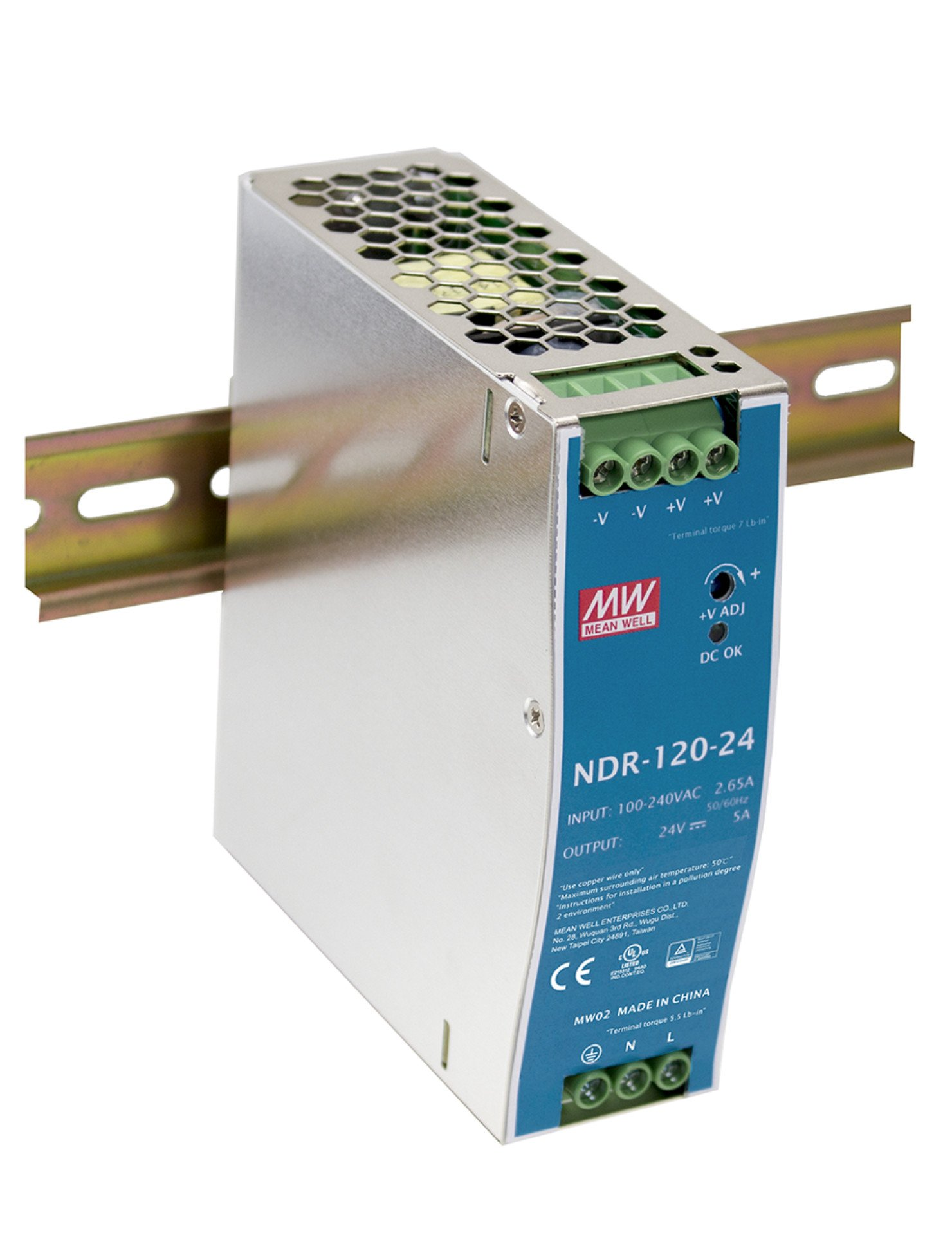 MEAN WELL original NDR-120-24 24V 5A meanwell NDR-120 24V 120W Single Output Industrial DIN Rail Power Supply